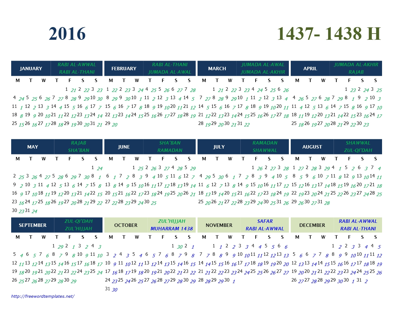 2016 Islamic Calendar Template pertaining to Islamic Year Hijri 1438 Images