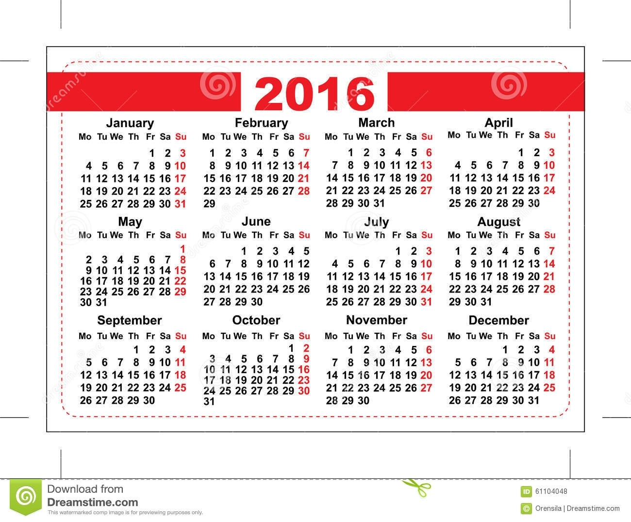 2016 Pocket Calendar. Template Grid. Horizontal Orientation Days Of with Grid Of 31 Days Image