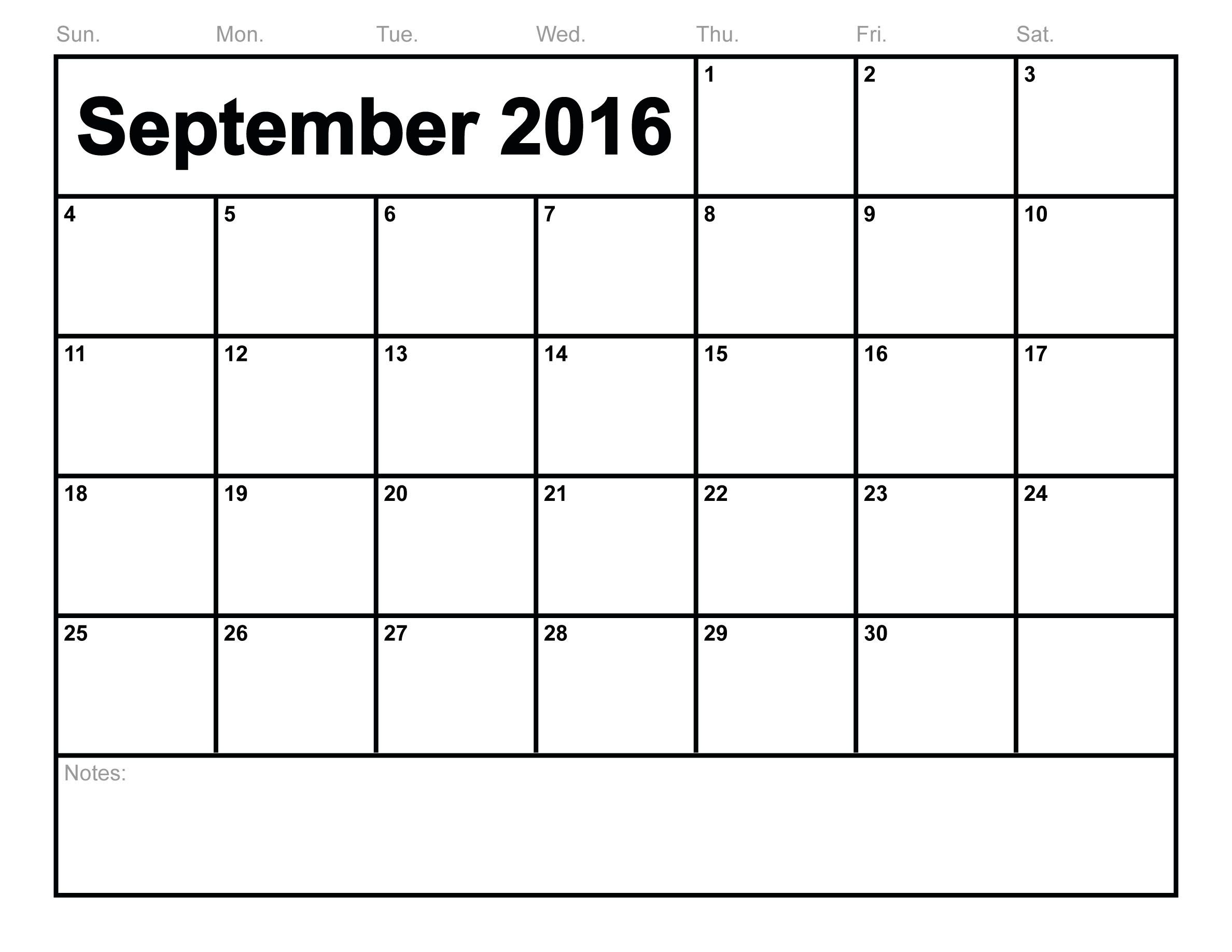 2016 September Month Calendar Template Page | Calendar Template 2019 regarding Print Calendar Month Of September