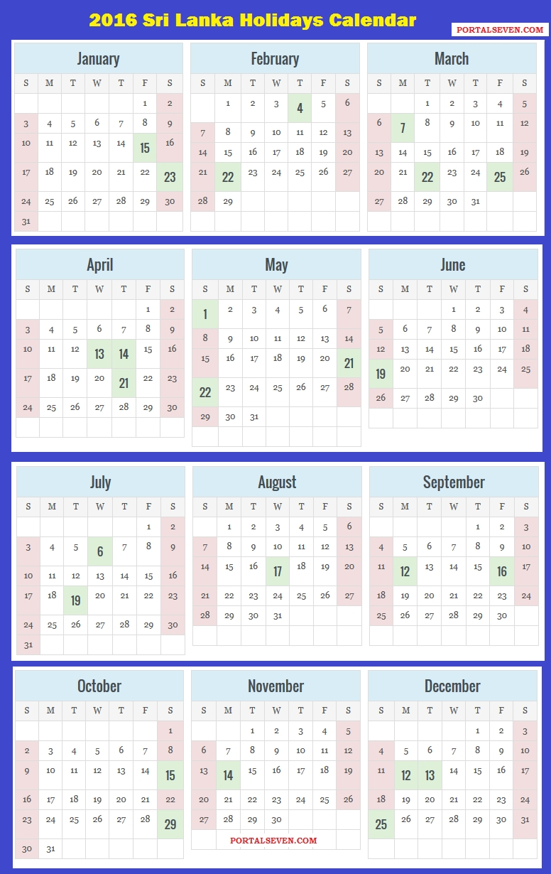 2016 Sri Lanka Calendar | 2016 Sri Lankan Holidays intended for List Ofhoidays In Sri Lanka