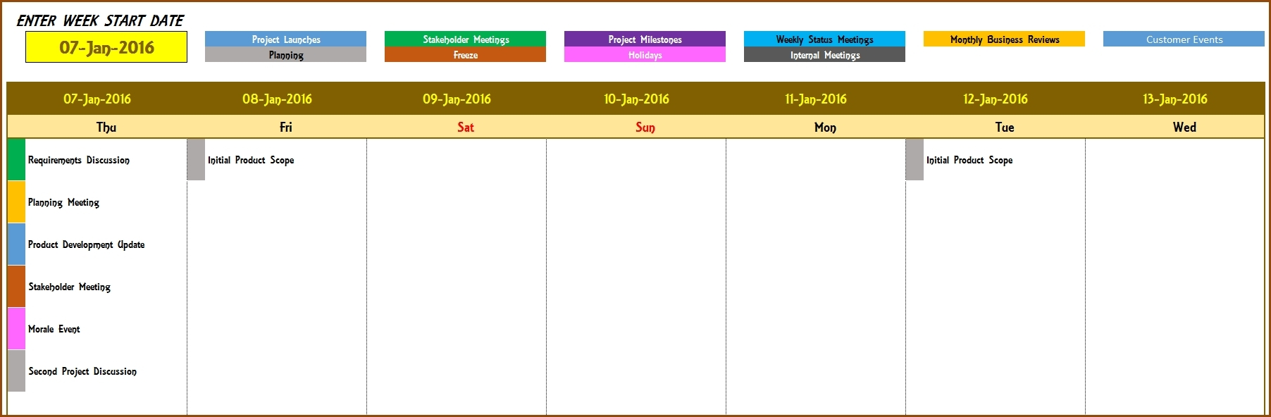 2016 Weekly Calendar Event Calendar Maker Excel Template Event throughout Template For An Event Calendar