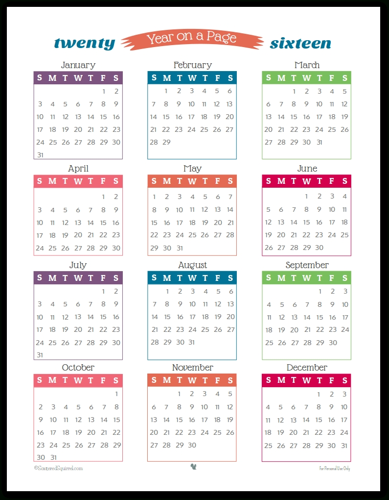 2016 Year On Page Printable Calendars Are Here! throughout 1 Page Year Long Calendar Printable Free