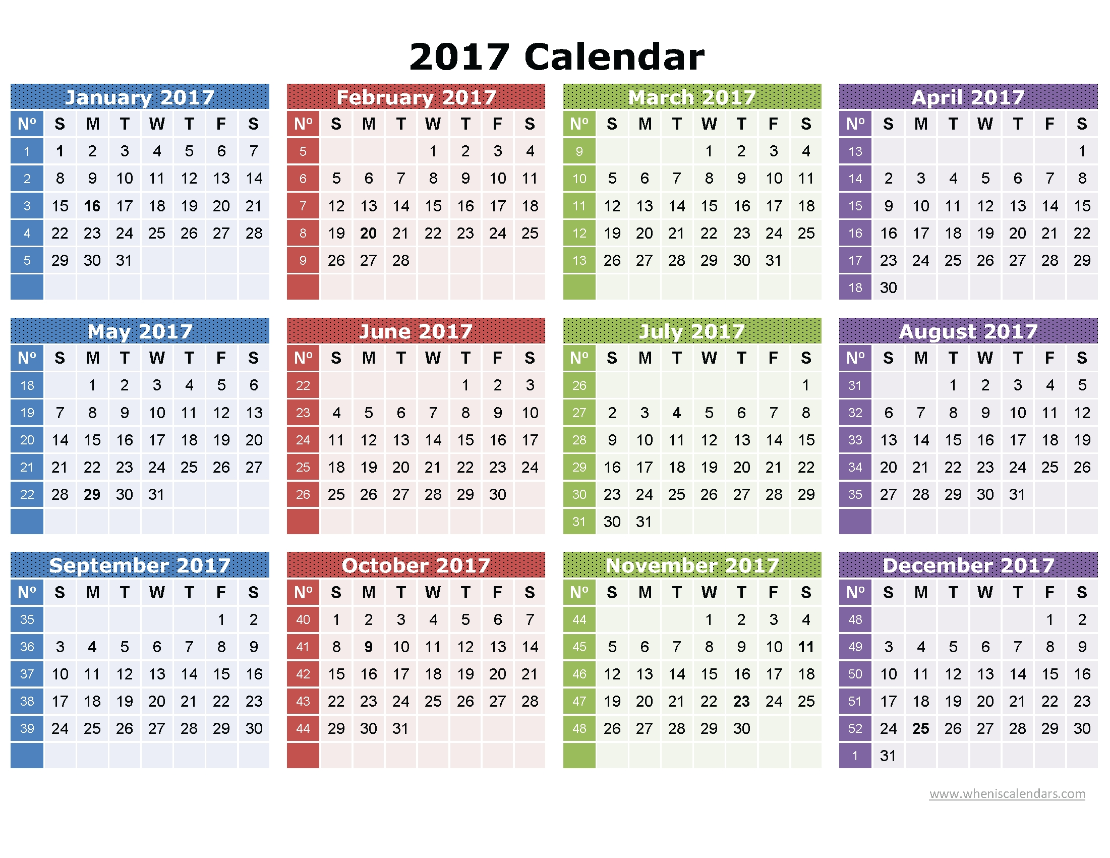 2017 Calendar Printable One Page | Download: Image (Full Size) | Pdf with Printable Full Size Blank Calendar
