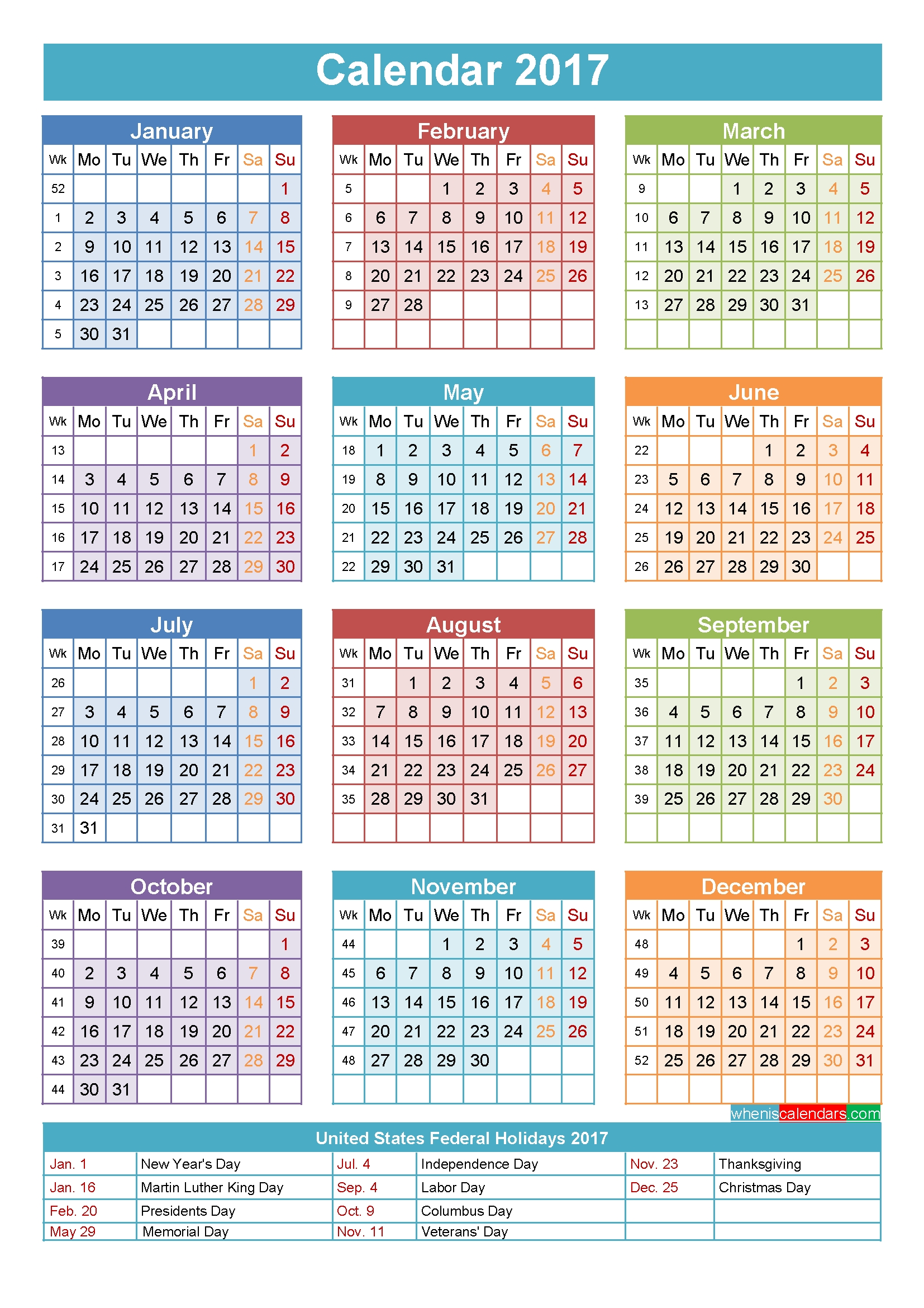 2017 Calendar With Holidays Printable Yearly Calendar Template in 12 Month Blank Calendar Template