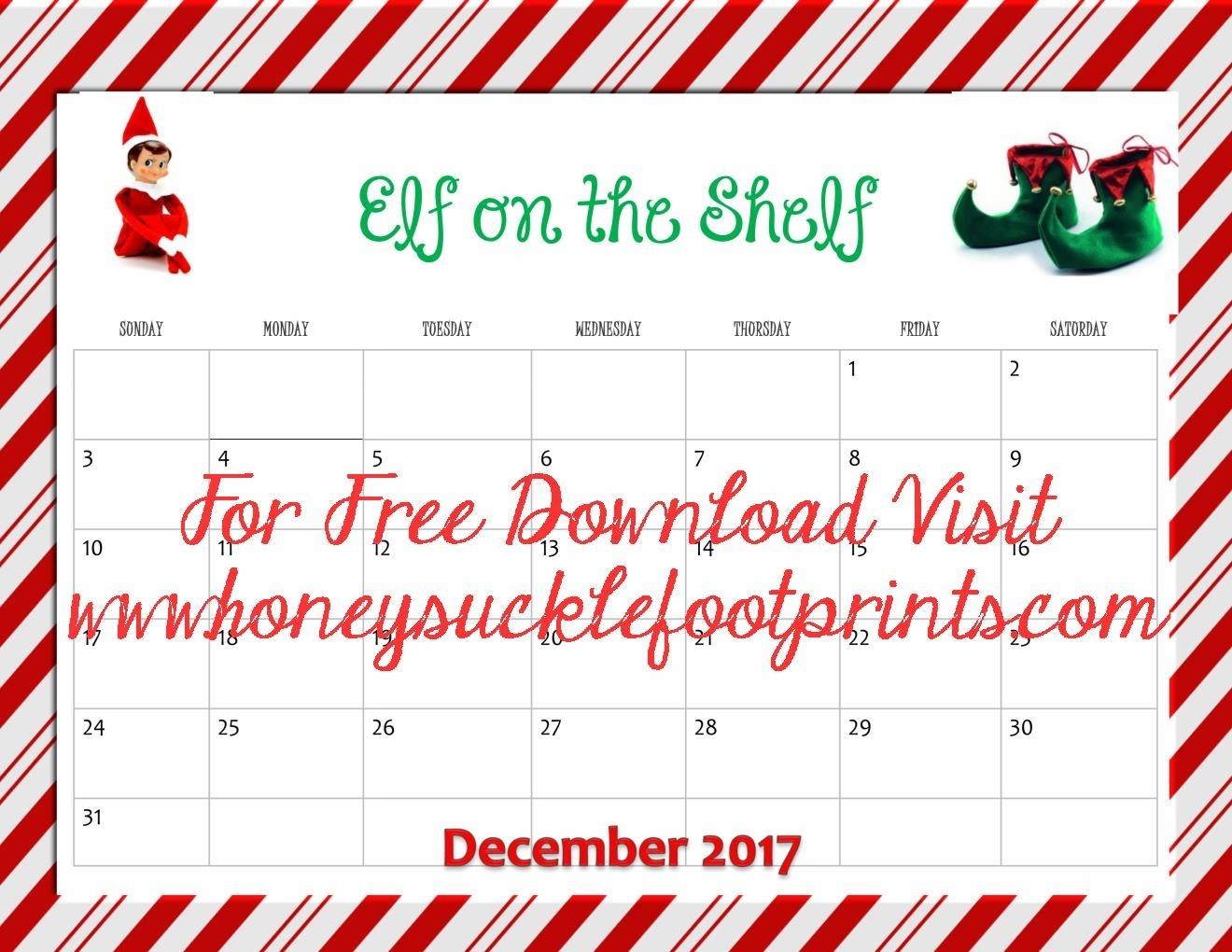 2017 Elf On The Shelf Calendar - November & December - Honeysuckle throughout Ideas For Calendar In November
