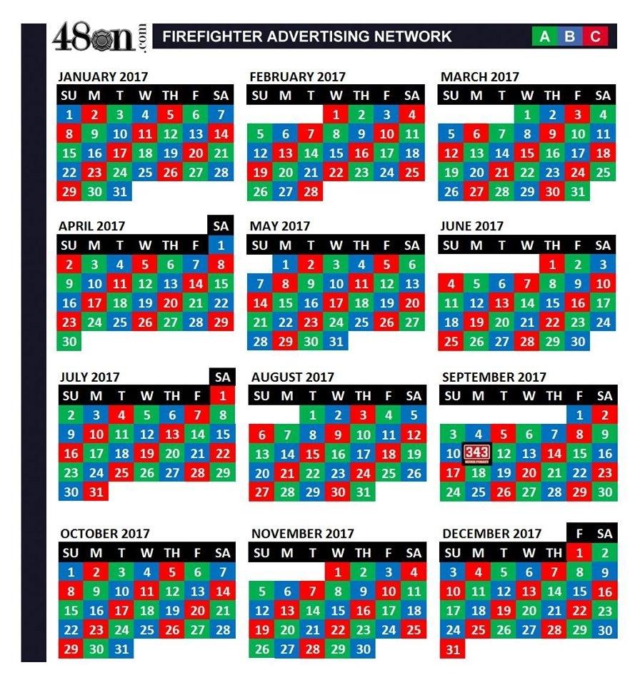 2017 Firefighter Shift Calendar – 48On – 48On with Firefighter 24 48 Shift Calendar