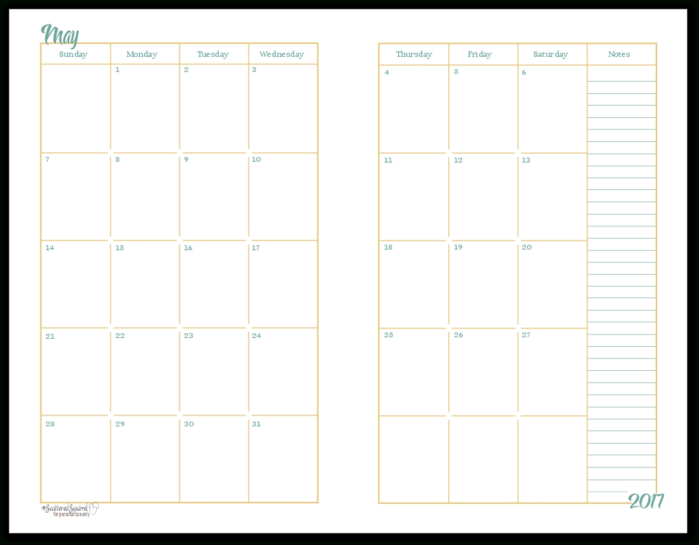 2017 Half-Size Monthly Calendar Printables | Daily Planners | A5 throughout Monthly Calendar 2 Page To Print