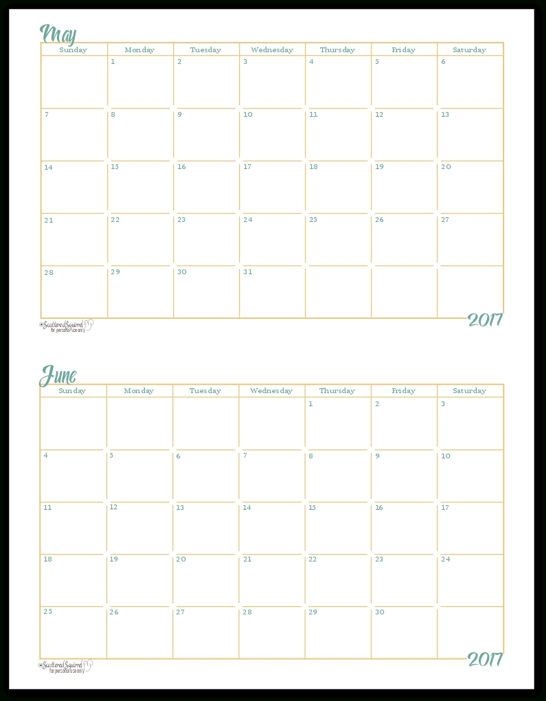 2017 Half-Size Monthly Calendar Printables in Half Page Monthly Calendar Printable
