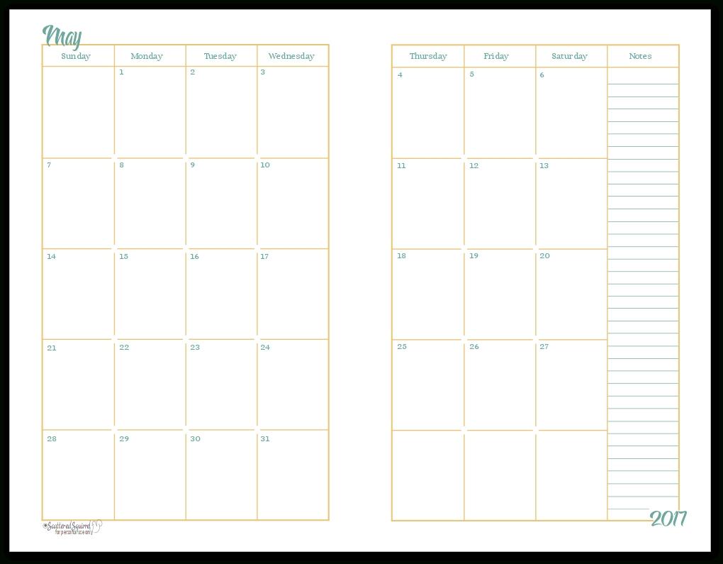 2017 Half-Size Monthly Calendar Printables inside 2 Page Monthly Calendar Printable Free
