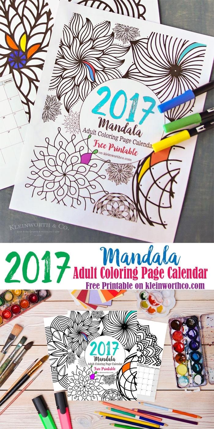 2017 Mandala Adult Coloring Page Calendar Free Printable throughout Free Printable Adult Superhero Calendars