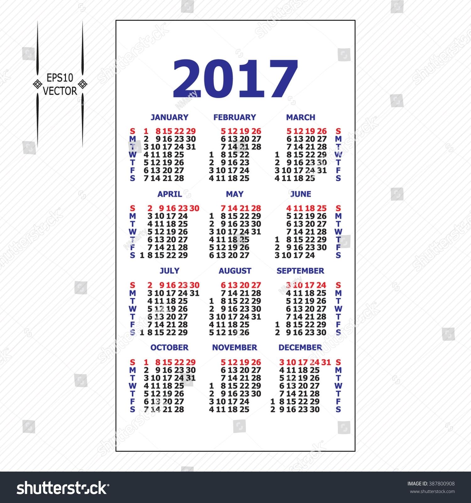 2017 Pocket Calendar Template Calendar Grid Stock Vector (Royalty for Grid Of 31 Days Image