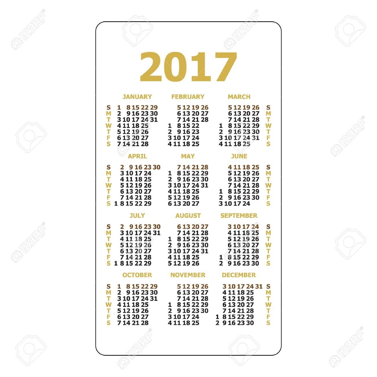 2017 Pocket Calendar. Template Calendar Grid. Vertical Orientation regarding Grid Of 31 Days Image