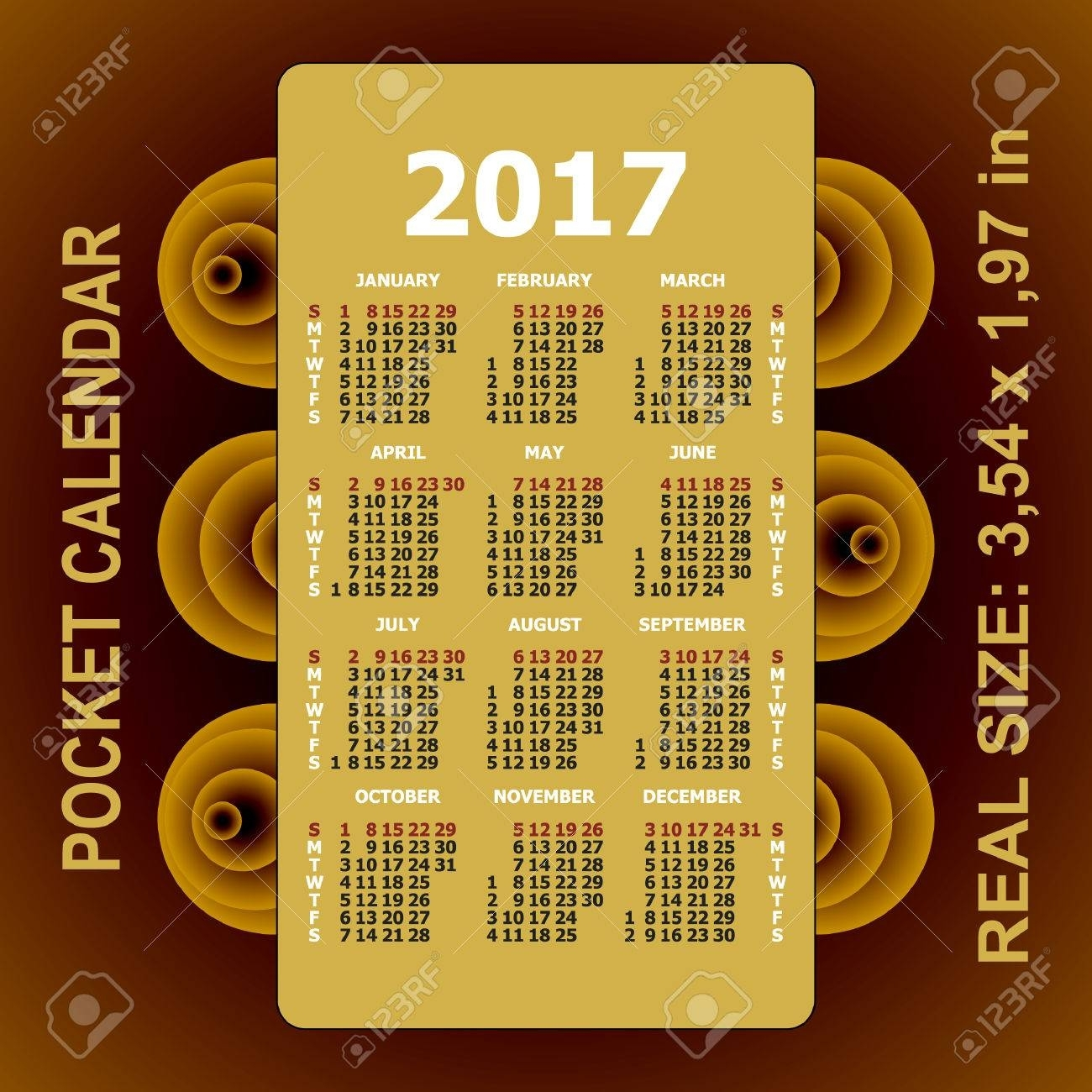 2017 Pocket Calendar. Template Calendar Grid. Vertical Orientation throughout Grid Of 31 Days Image
