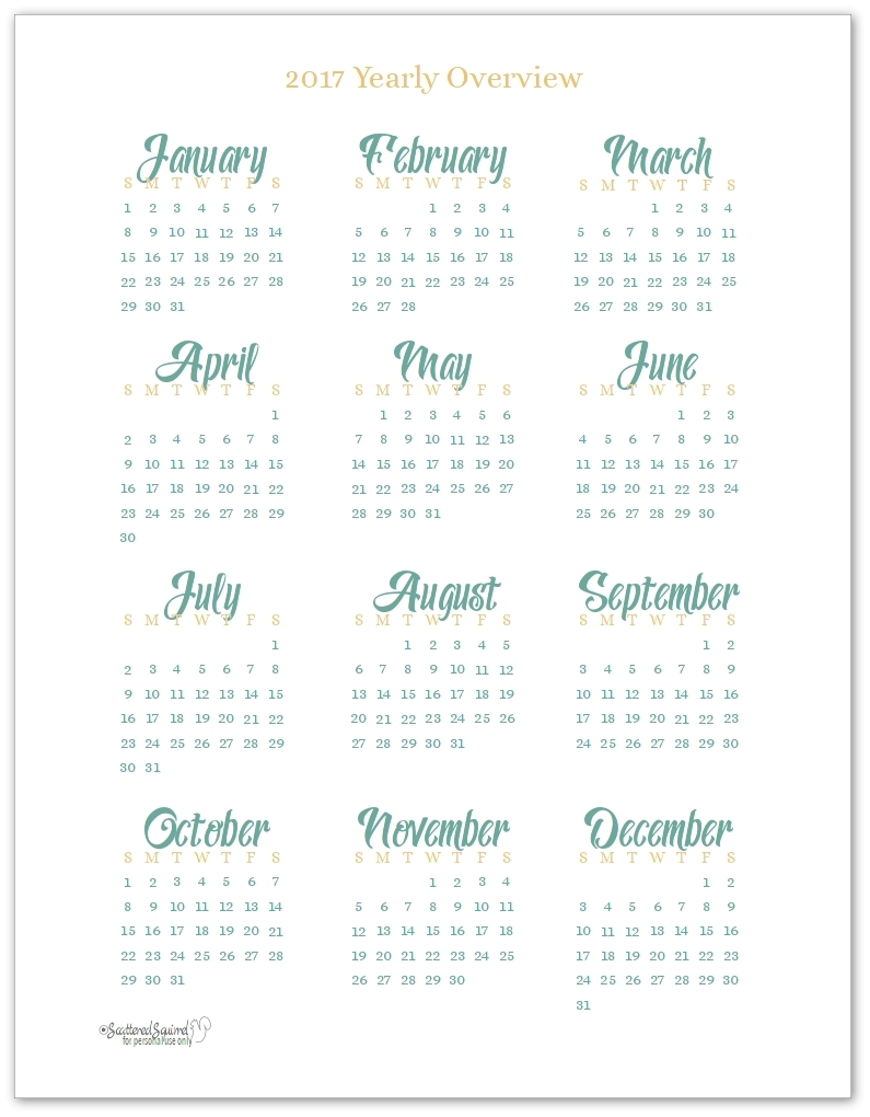 2017 Year At A Glance Printable | Hauck Mansion within Year At A Glance Printable