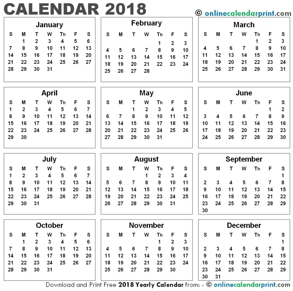 2018 12 Month Calendar Printable | Thegioithamdep intended for 12 Month Calendar Printable Free