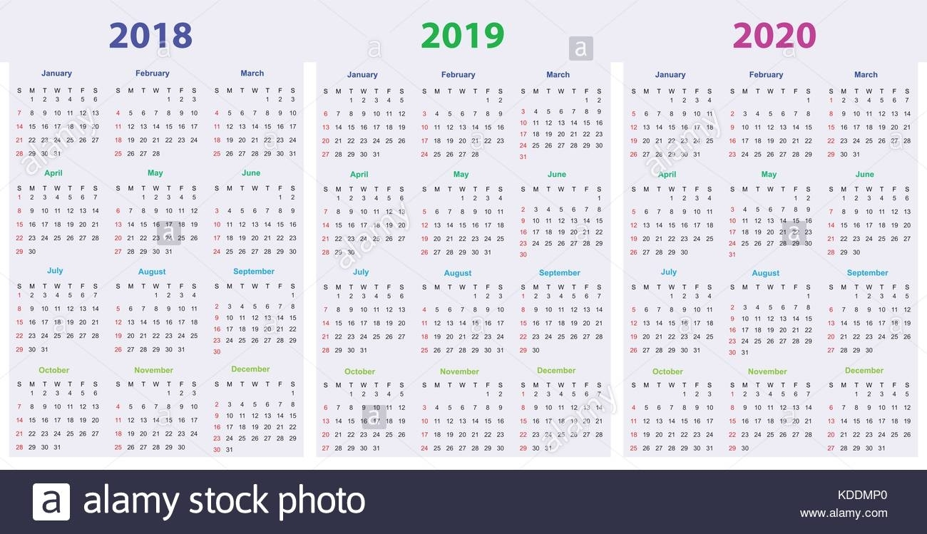 2018 2019 Calendar Stock Vector Images - Alamy in 2023 Calendar Printable One Page E Printable
