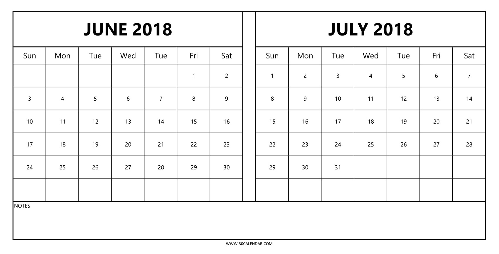 2018 Calendar June July Printable | 2 Monthly Template To Print regarding Calender For June And July