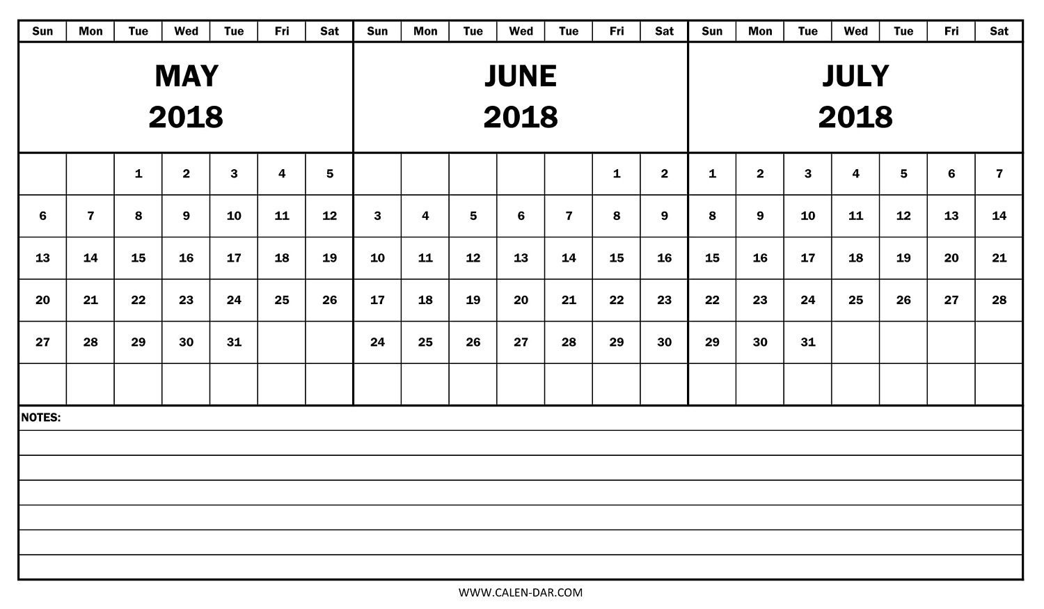 2018 Calendar May June July Template | Free Printable 3 Month Calendar with regard to Print Month Of June And July