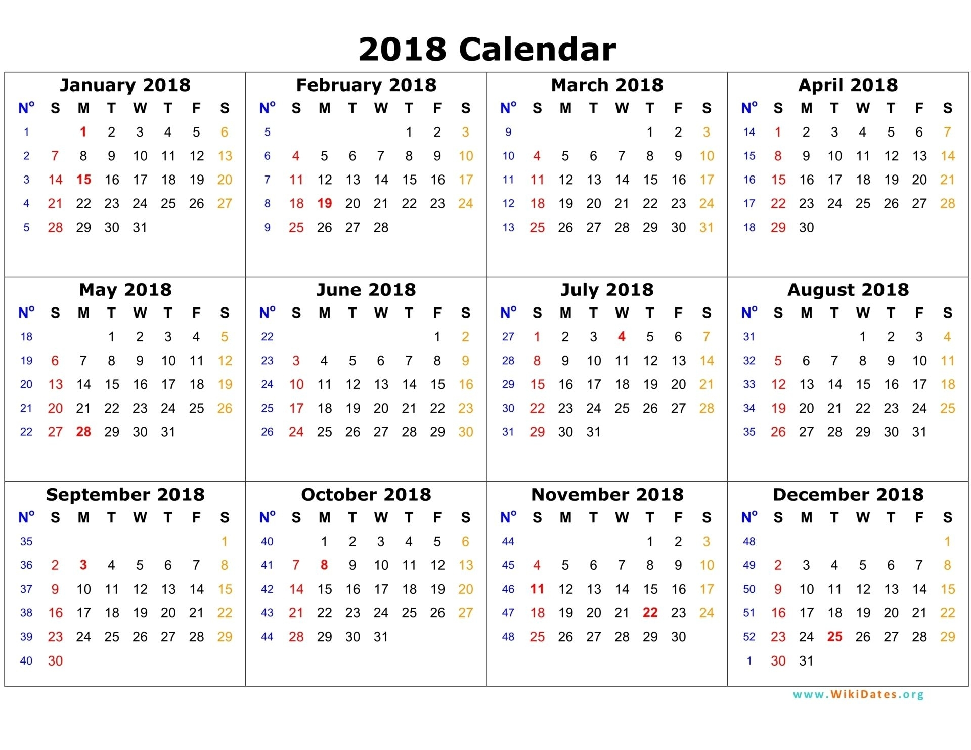 2018 Calendar On One Page | Calendar Template 2016 | Planner Stuff regarding One Page Annual Calendar Printable