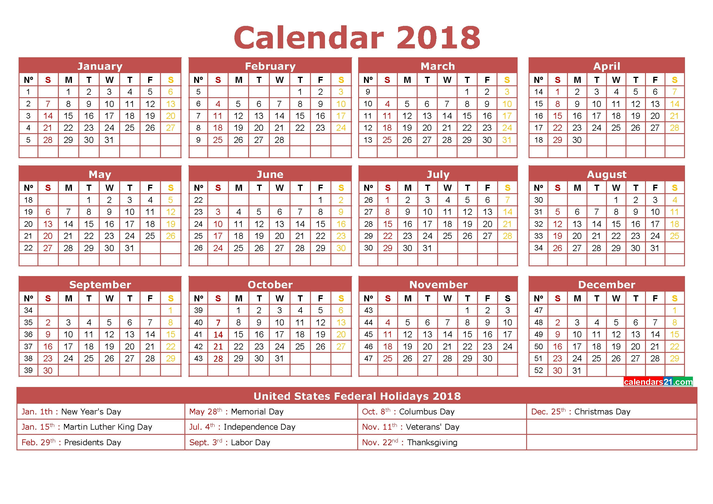 2018 Calendar Printable 12 Month In One Page Calendar | Free inside 3 Month On One Page Printable