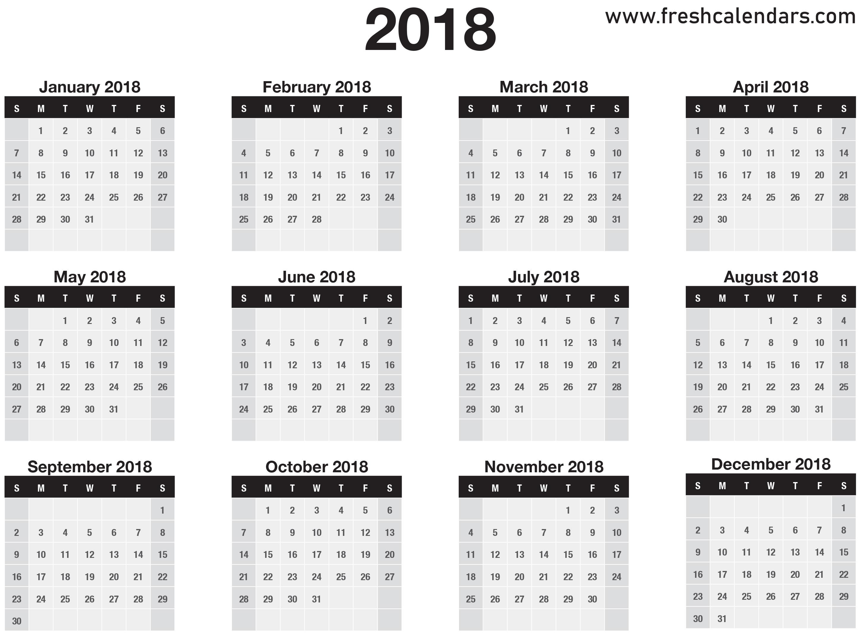 2018 Calendar regarding 12 Month Calendar On One Page