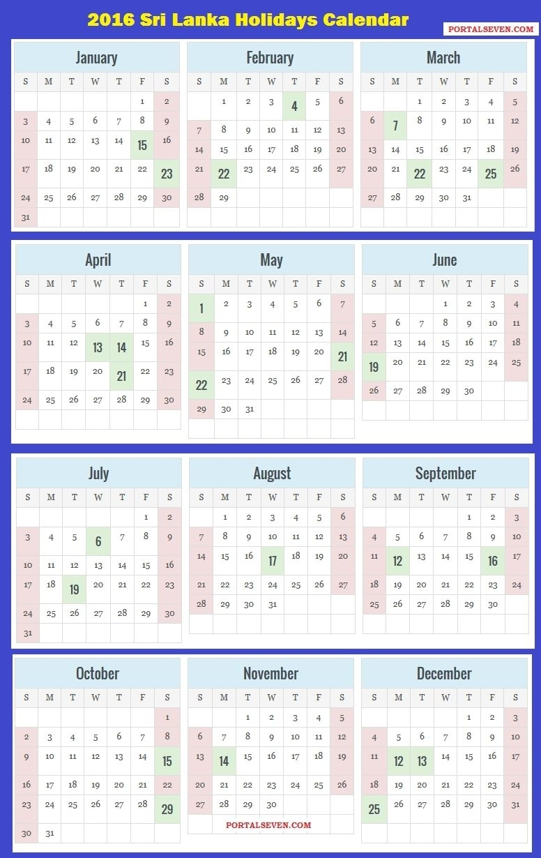 2018 Calendar Sri Lanka With Holidays | Calendar Printable Free 2018 for Sri Lanka Calendar Of September With Holidays