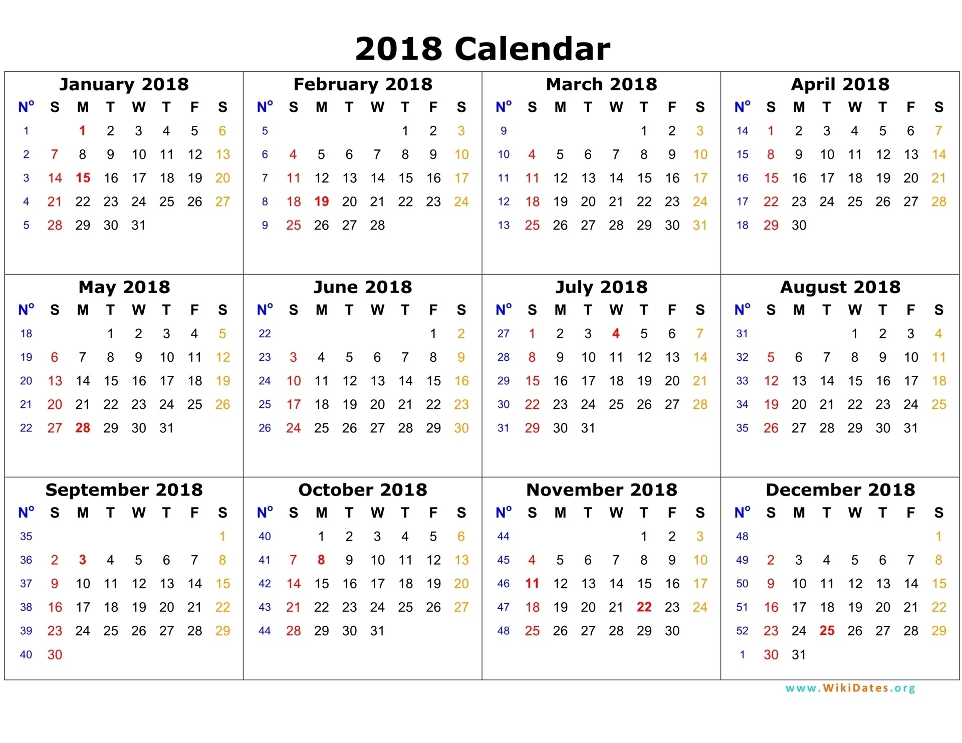 2018 Calendar Template 03 On 12 Month Calendar 2018 Template - Free intended for Free Printable 12 Month Blank Calendar