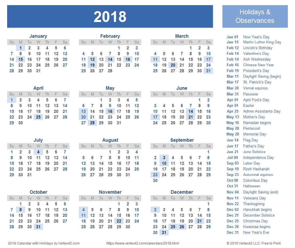 2018 Calendar Templates, Images And Pdfs inside 4 Week Calendar To Print