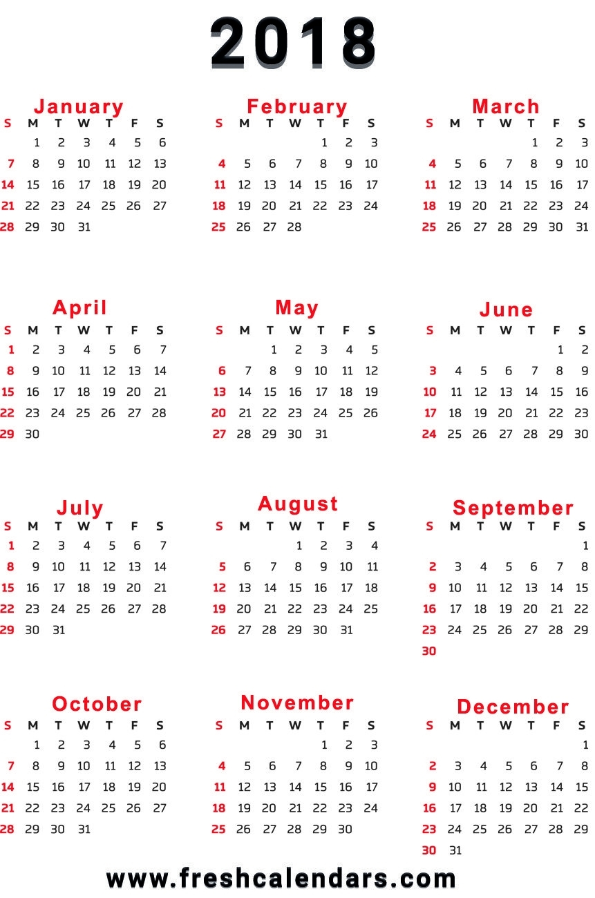 2018 Calendar with regard to 3 Month On One Page Printable