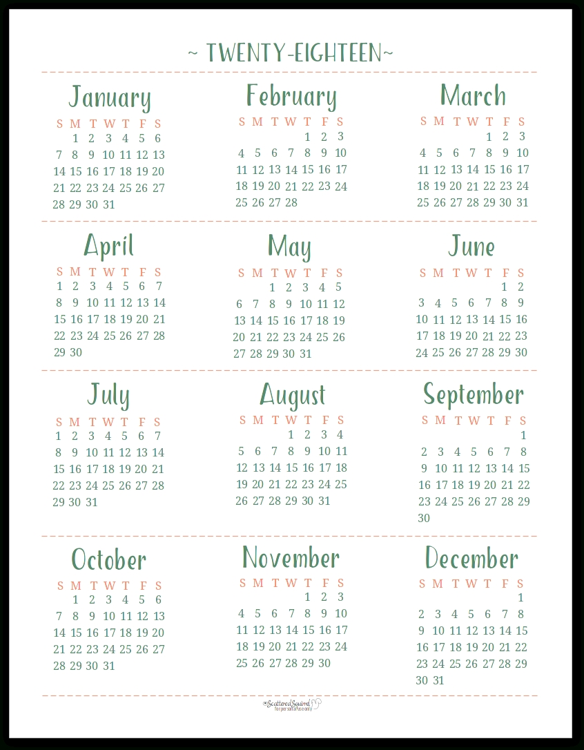 2018 Dated Yearly Calendar Printables Are Here with Blank Calendar Page Year Long