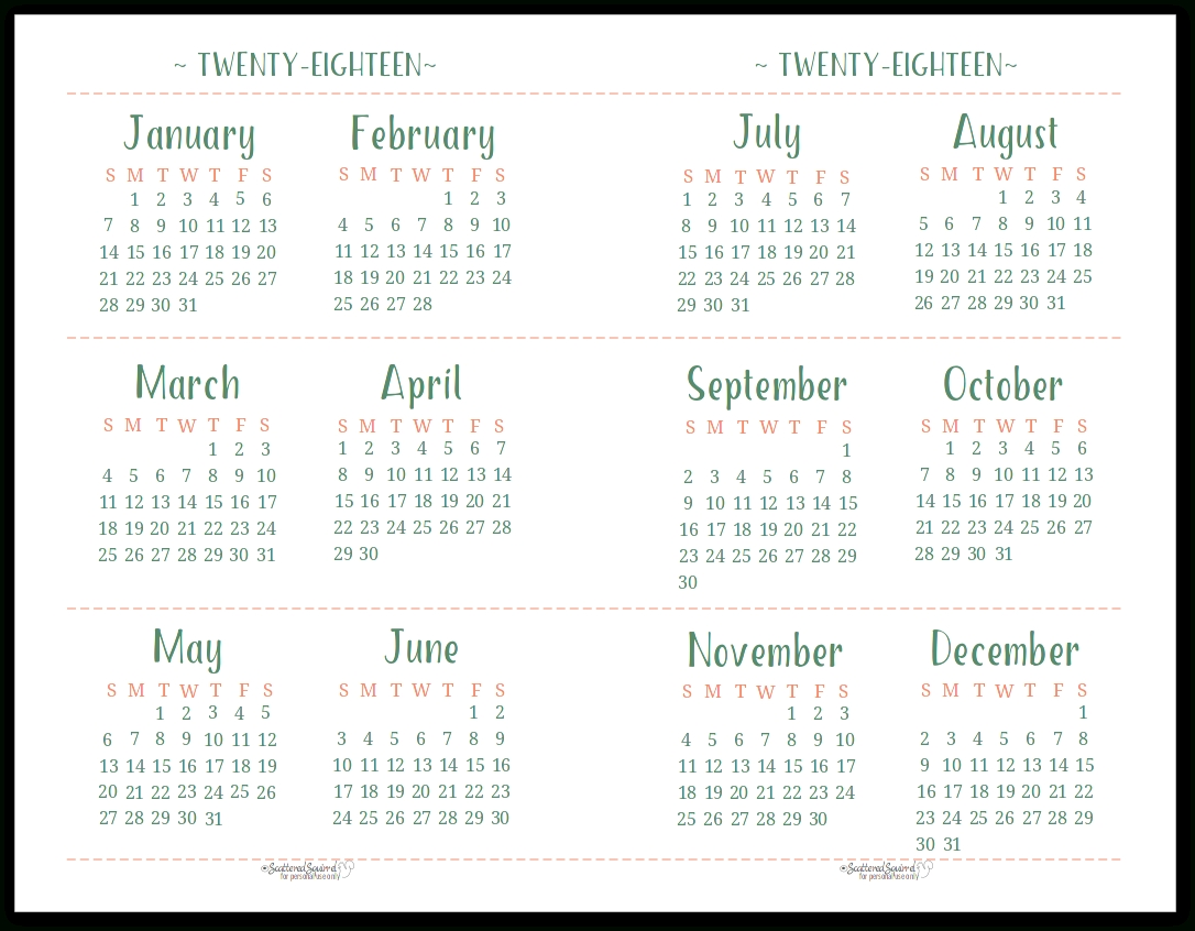 2018 Dated Yearly Calendar Printables Are Here with regard to Printable Blank Monthly Calendar With Lines For Purse