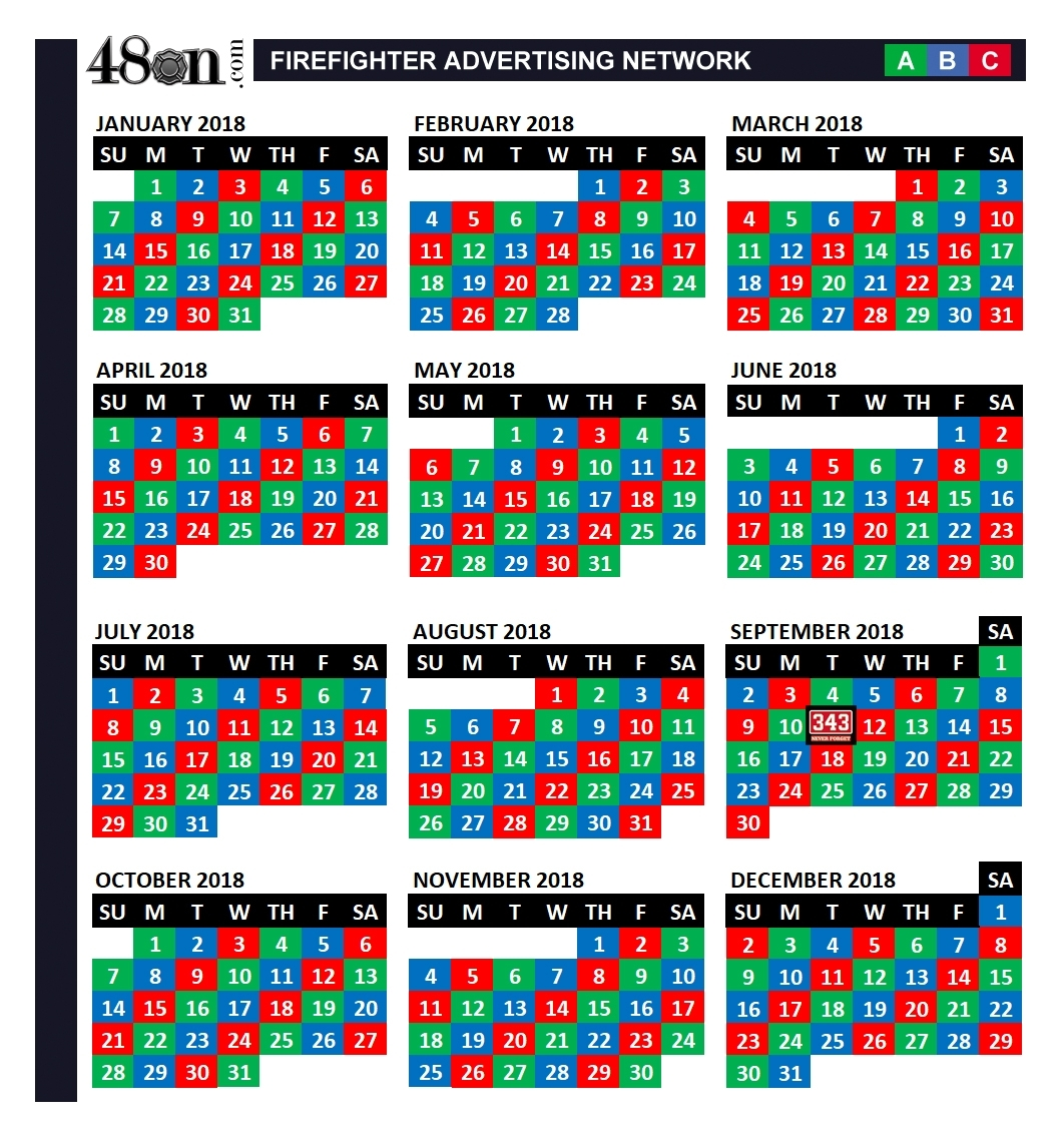2018 Firefighter Shift Calendar – 48On – 48On with A B C Shift Calendar