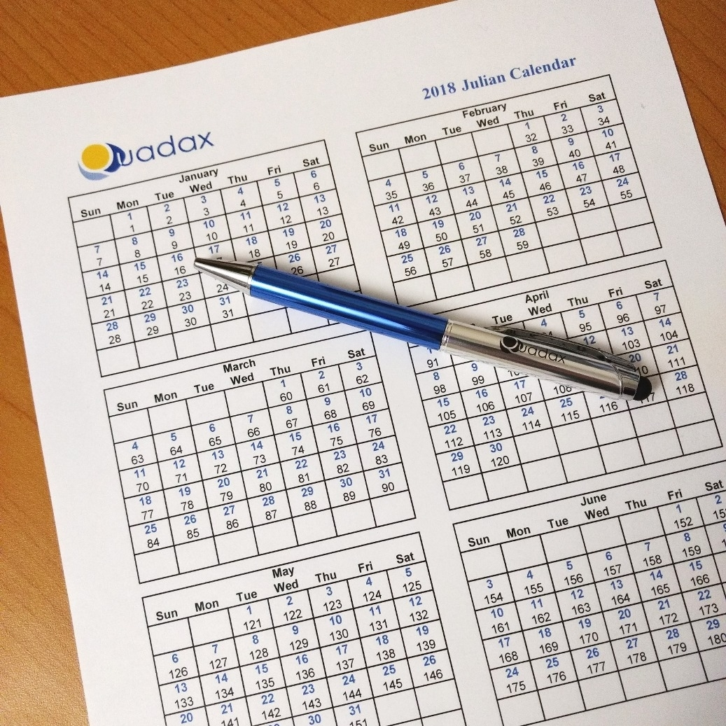 2018 Julian Calendar | Quadax with 118 Day Of The Year Julian