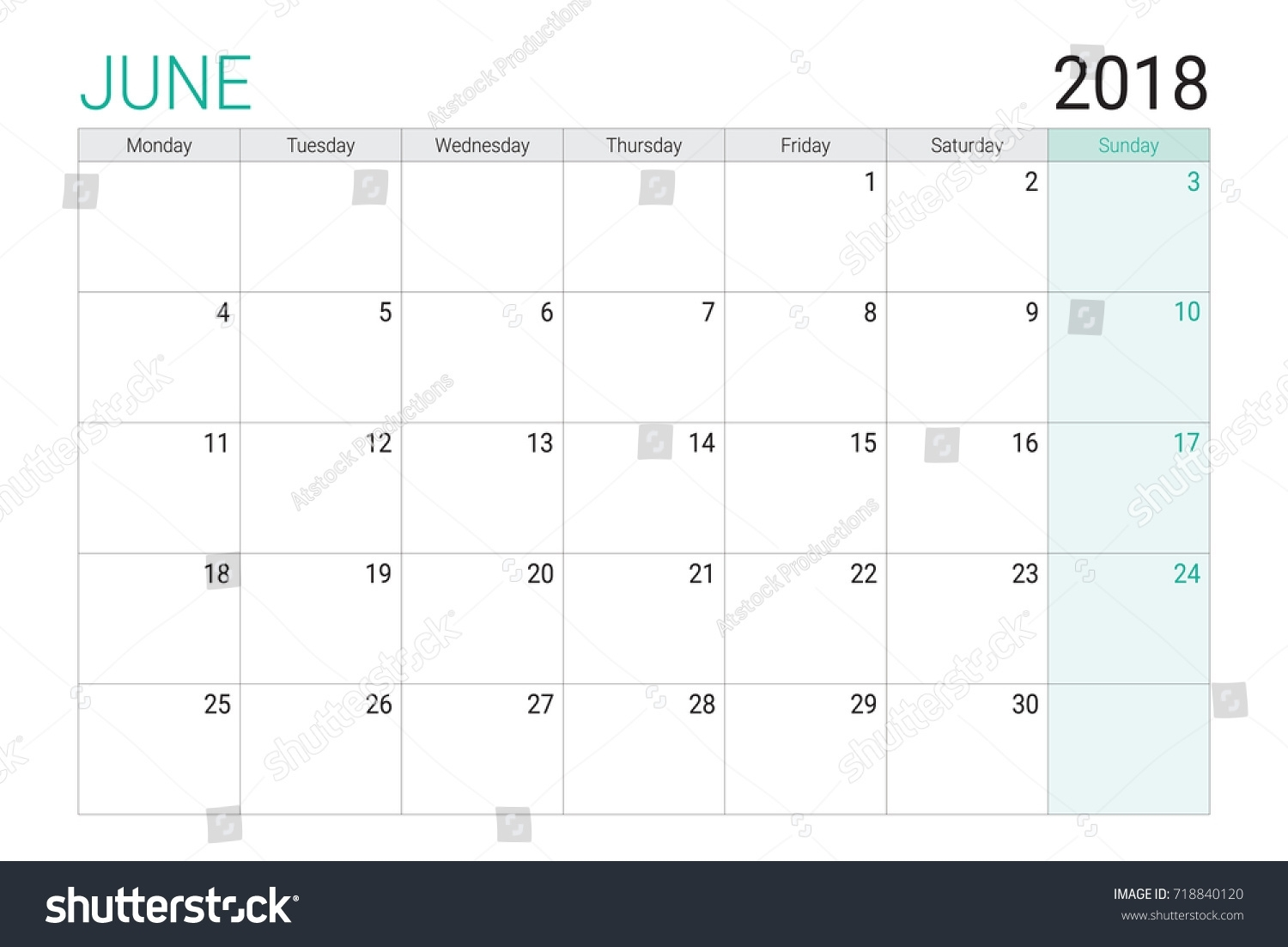 2018 June Calendar Desk Planner Weeks Stock Vector (Royalty Free with regard to Football Theme Blank Dates Calendar