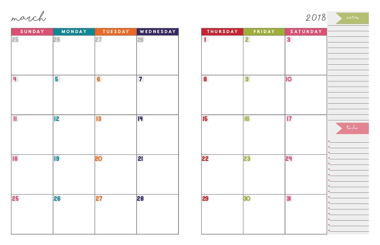 2018 Monthly Planner | Free Printable Calendar, 2-Page Spread throughout 2 Page Monthly Calendar Printable Free