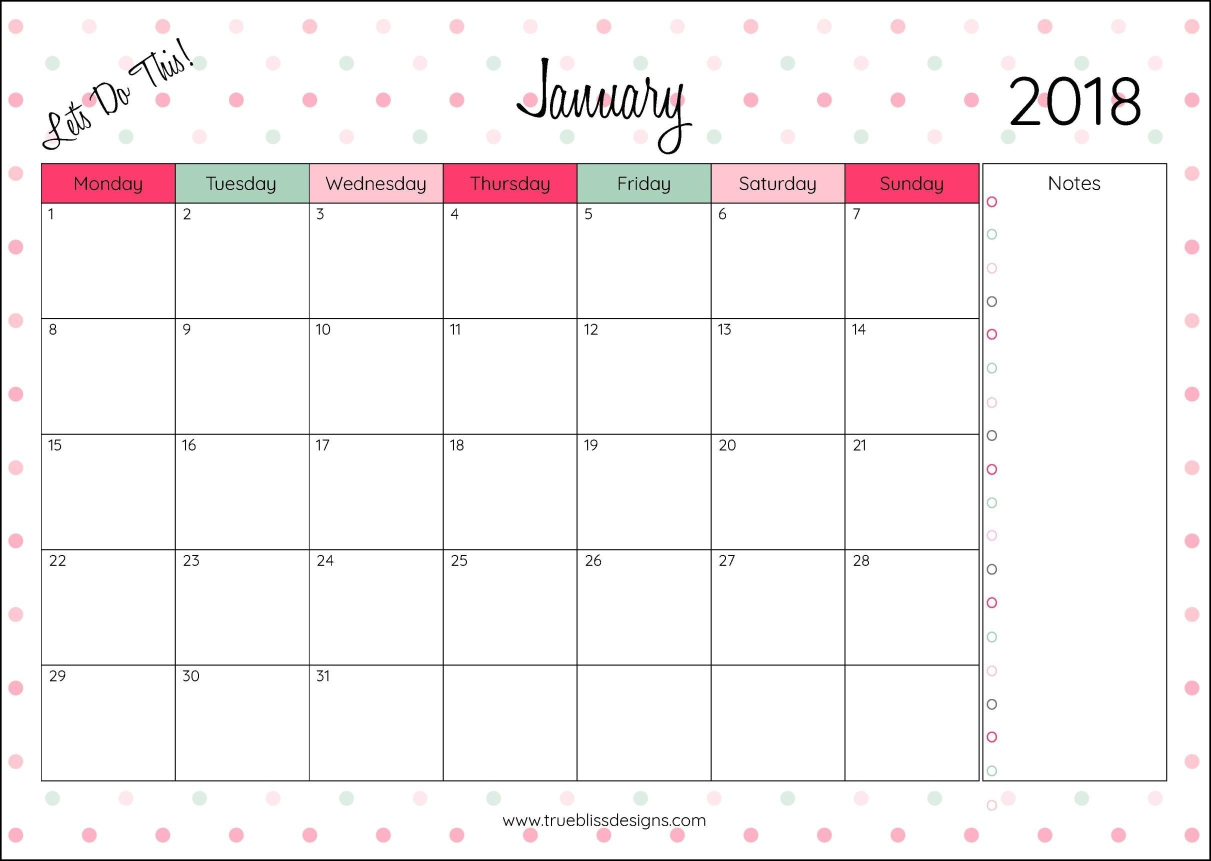 2018 Monthly Printable Calendar - Let's Do This | Planner | Monthly inside Marble Themed Blank Class Schedule Template