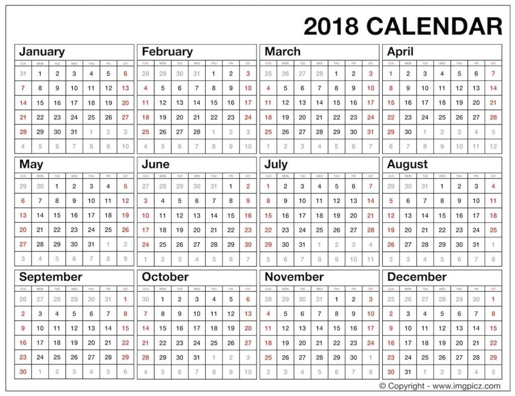 2018 Year At A Glance - Hashtag Bg within Year At A Glance Printable Template