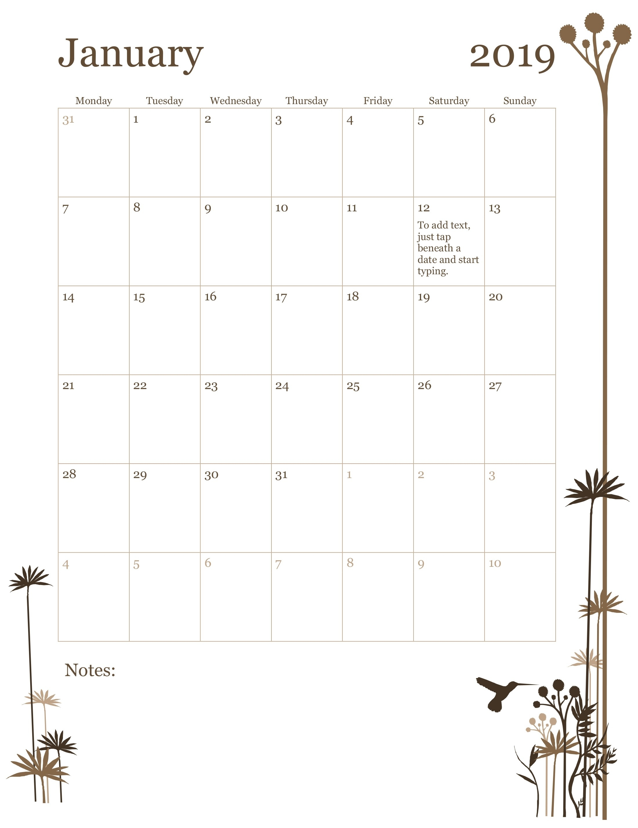 2019 12-Month Calendar (Mon-Sun) for 12 Month Calendar Template Printable