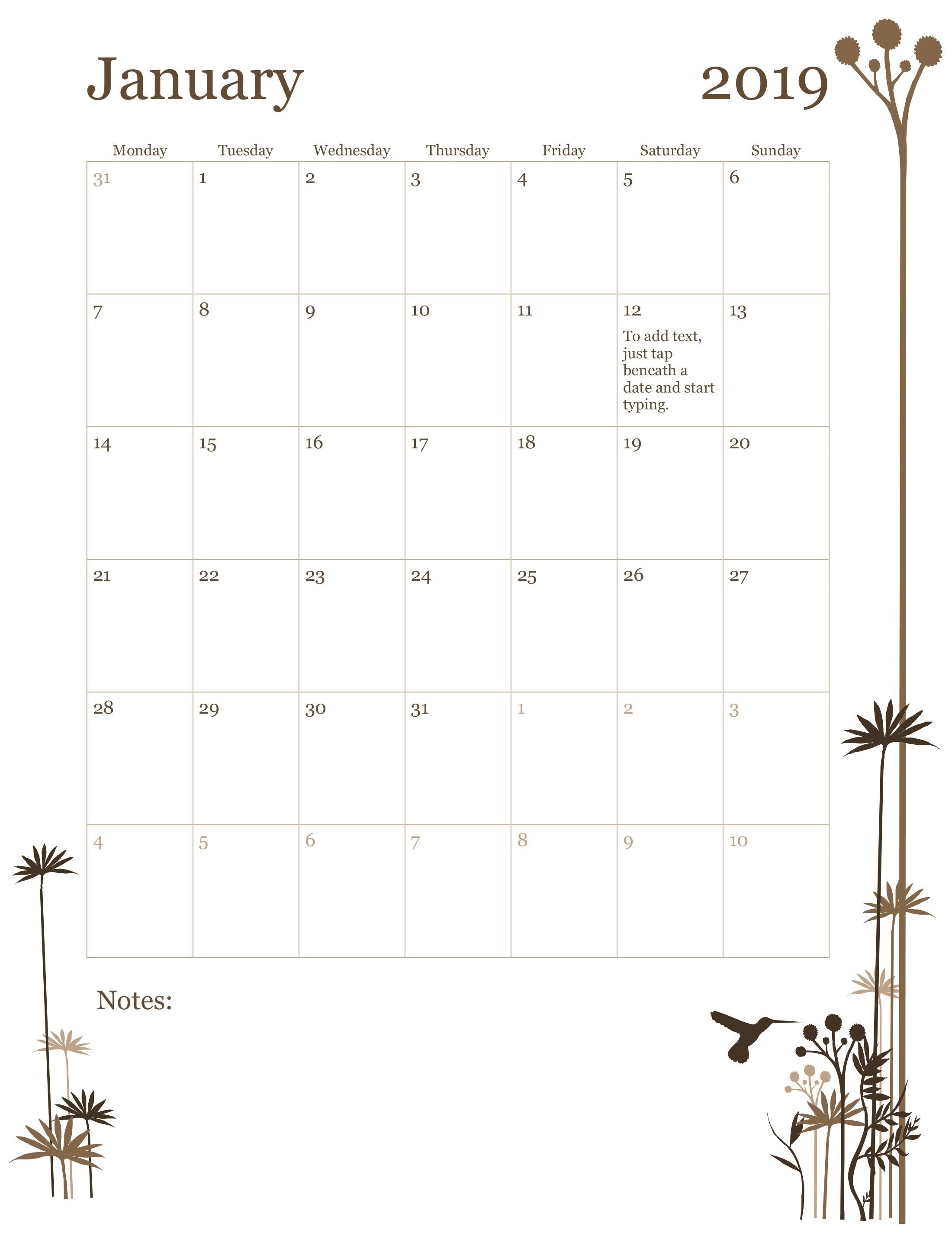 2019 12-Month Calendar (Mon-Sun) in 12 Month Calendar Word Template
