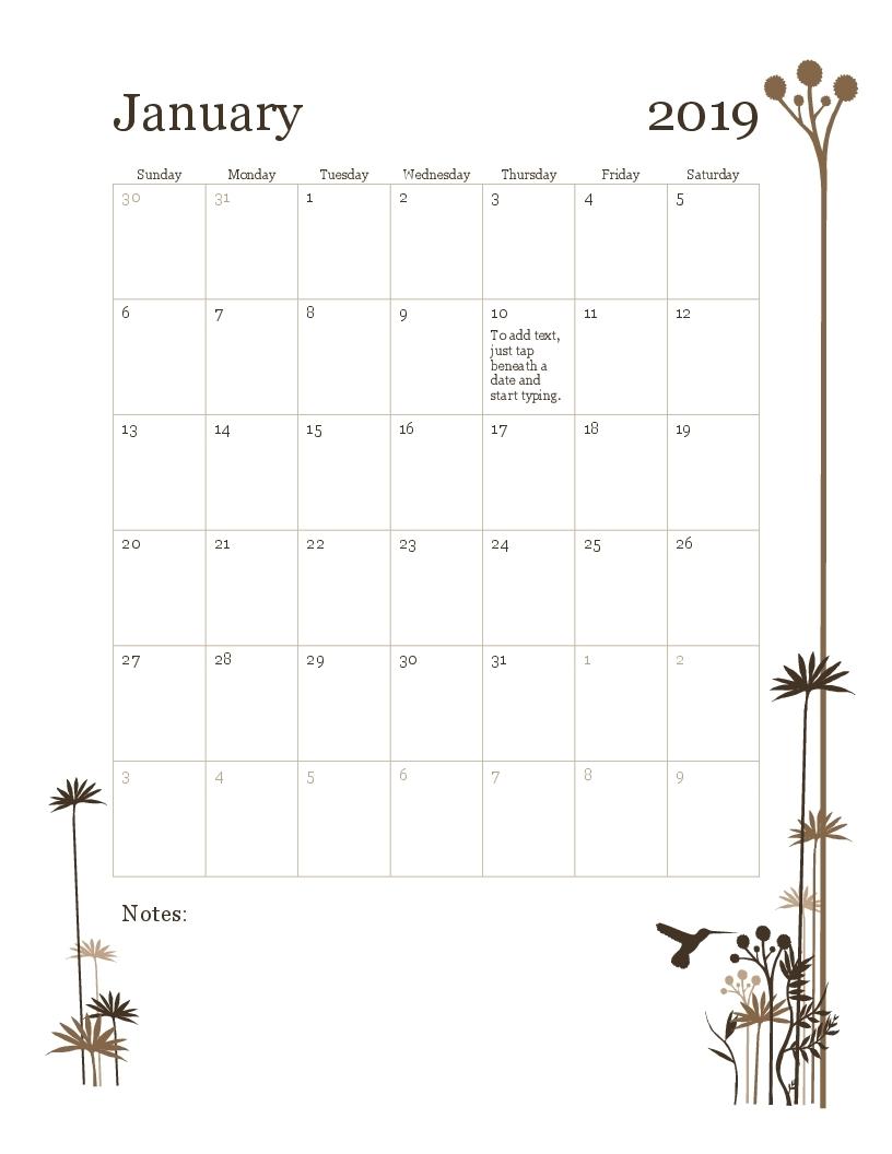 2019 12-Month Calendar (Sun-Sat) with Blank Calendar Mon Through Fri With No Dates Or Month