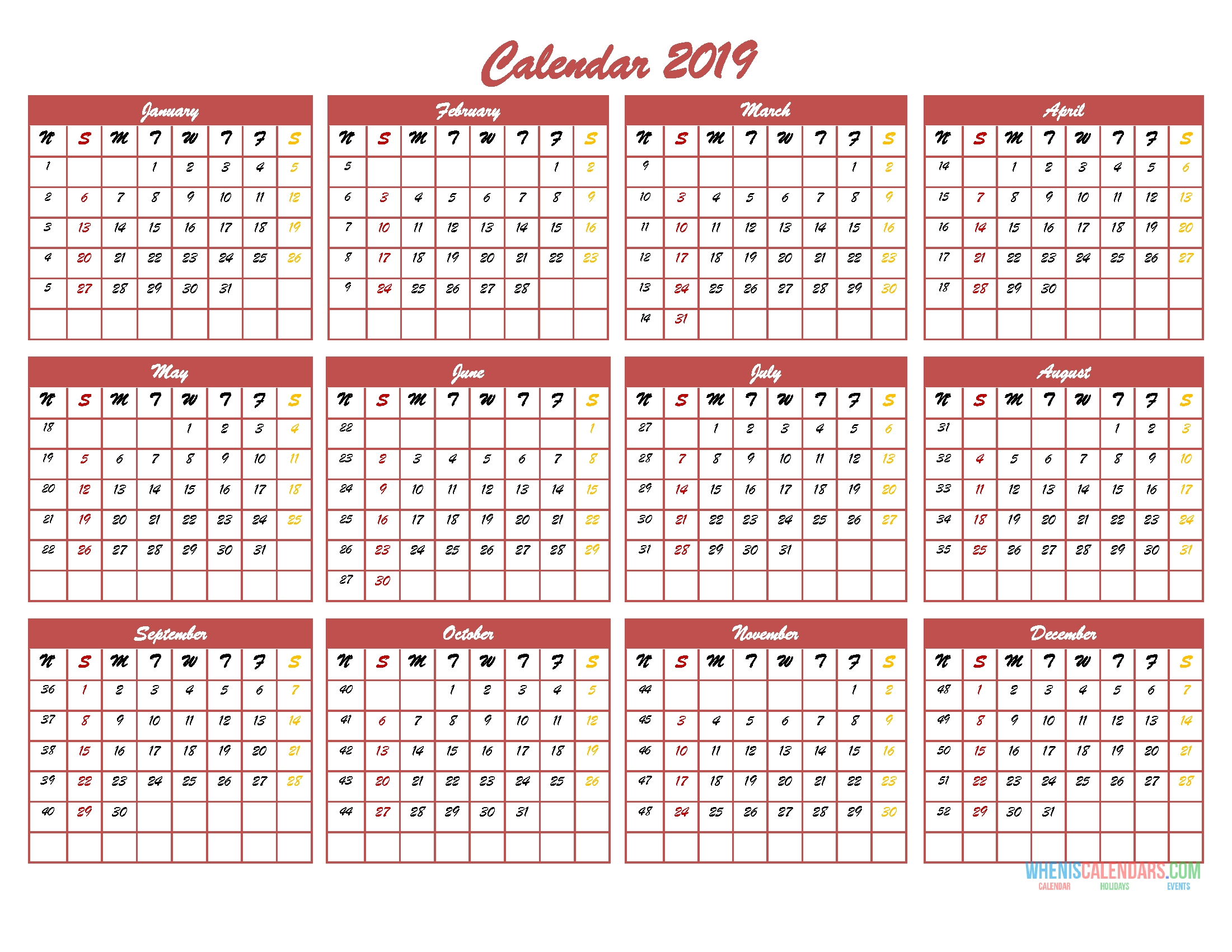 2019 12 Month Calendar Template In One Page Pdf, Image, Excel | Free within 12 Month Calendar One Page