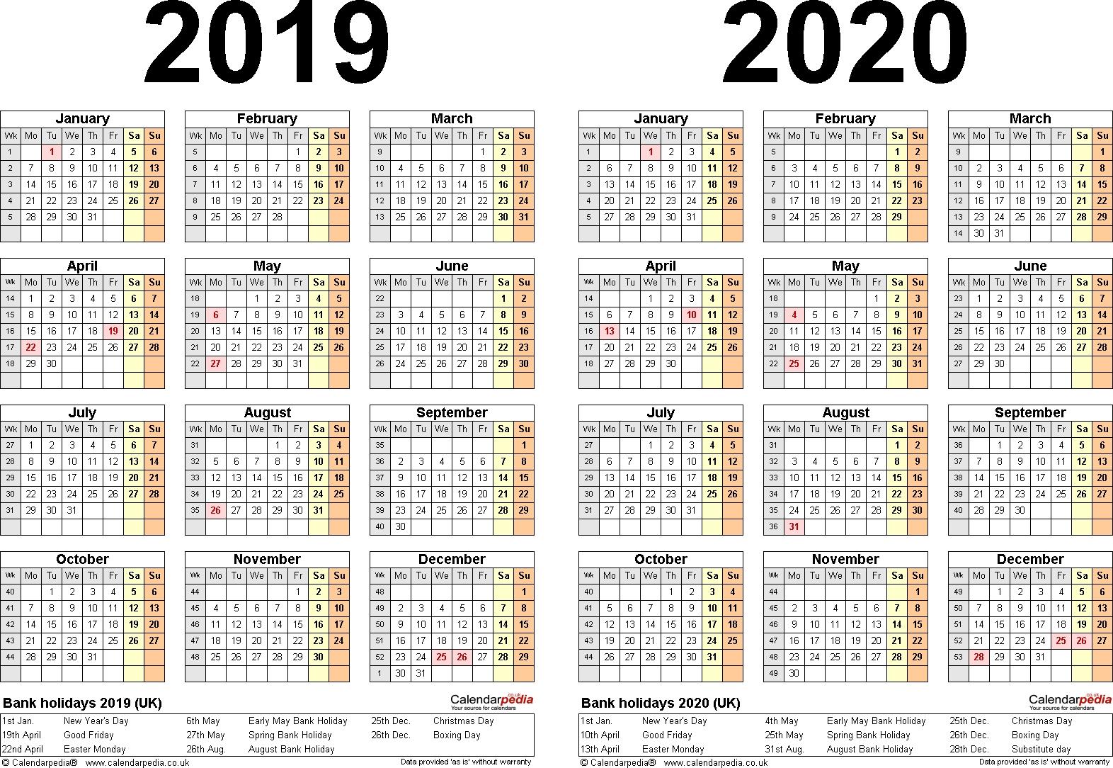 Free Printable Year Planner 2020 Uk