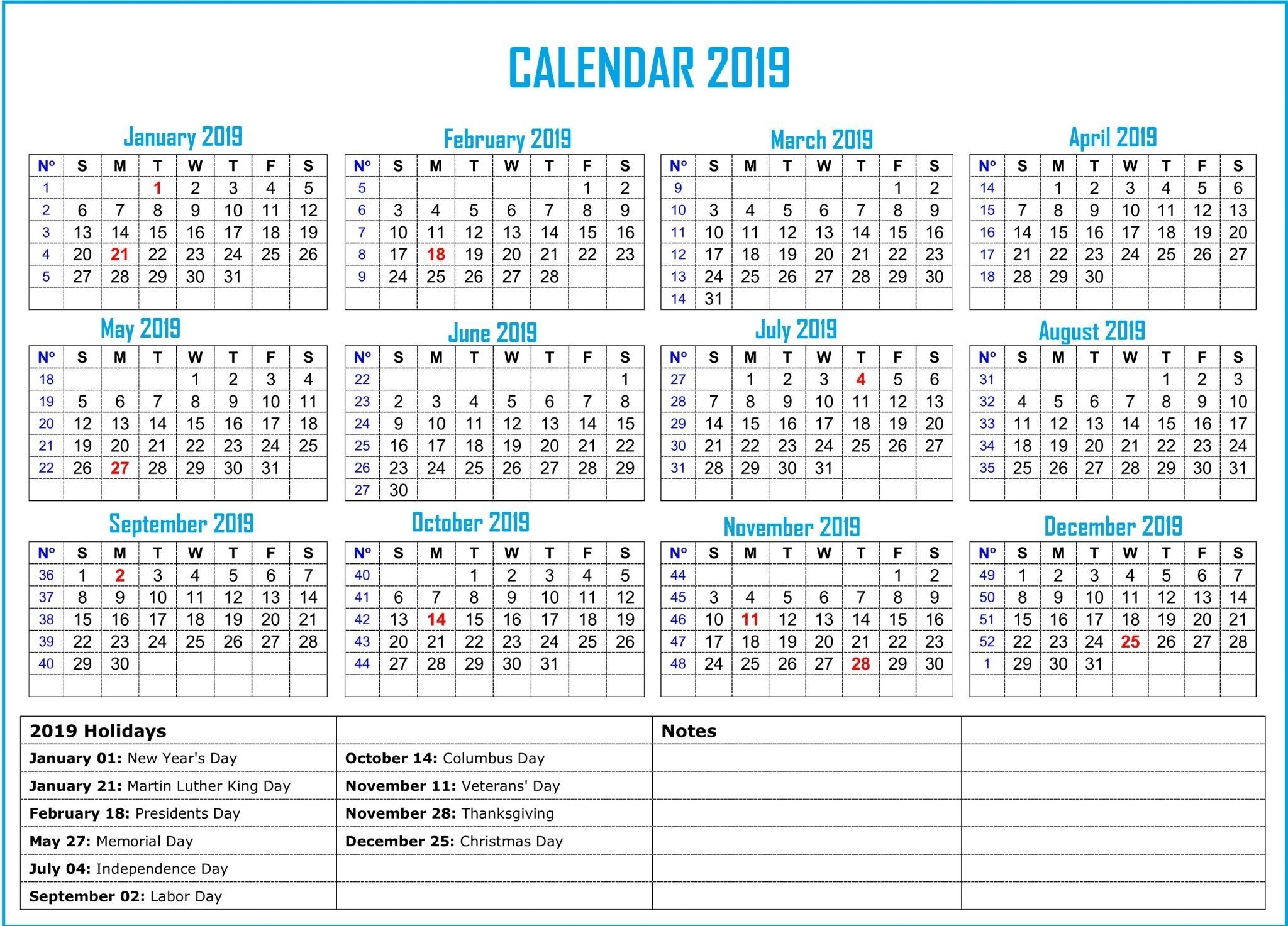 2019 Bank Holiday Calendar #2019Calendar #holidayscalendar with regard to 12 Month Calendar With Lines
