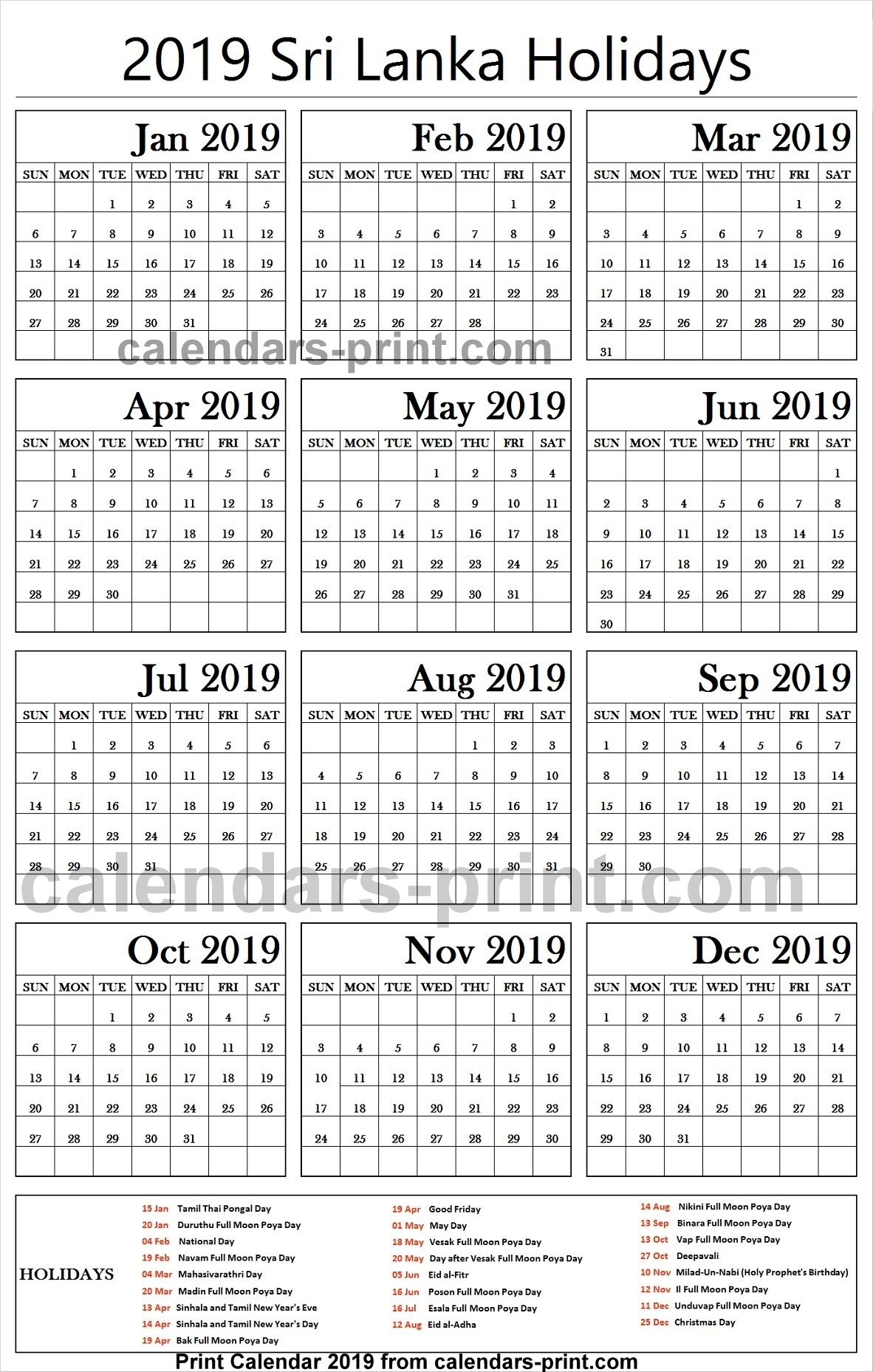 2019 Bank Holidays Sri Lanka Calendar | 2019 Sri Lanka Calendar inside List Ofhoidays In Sri Lanka