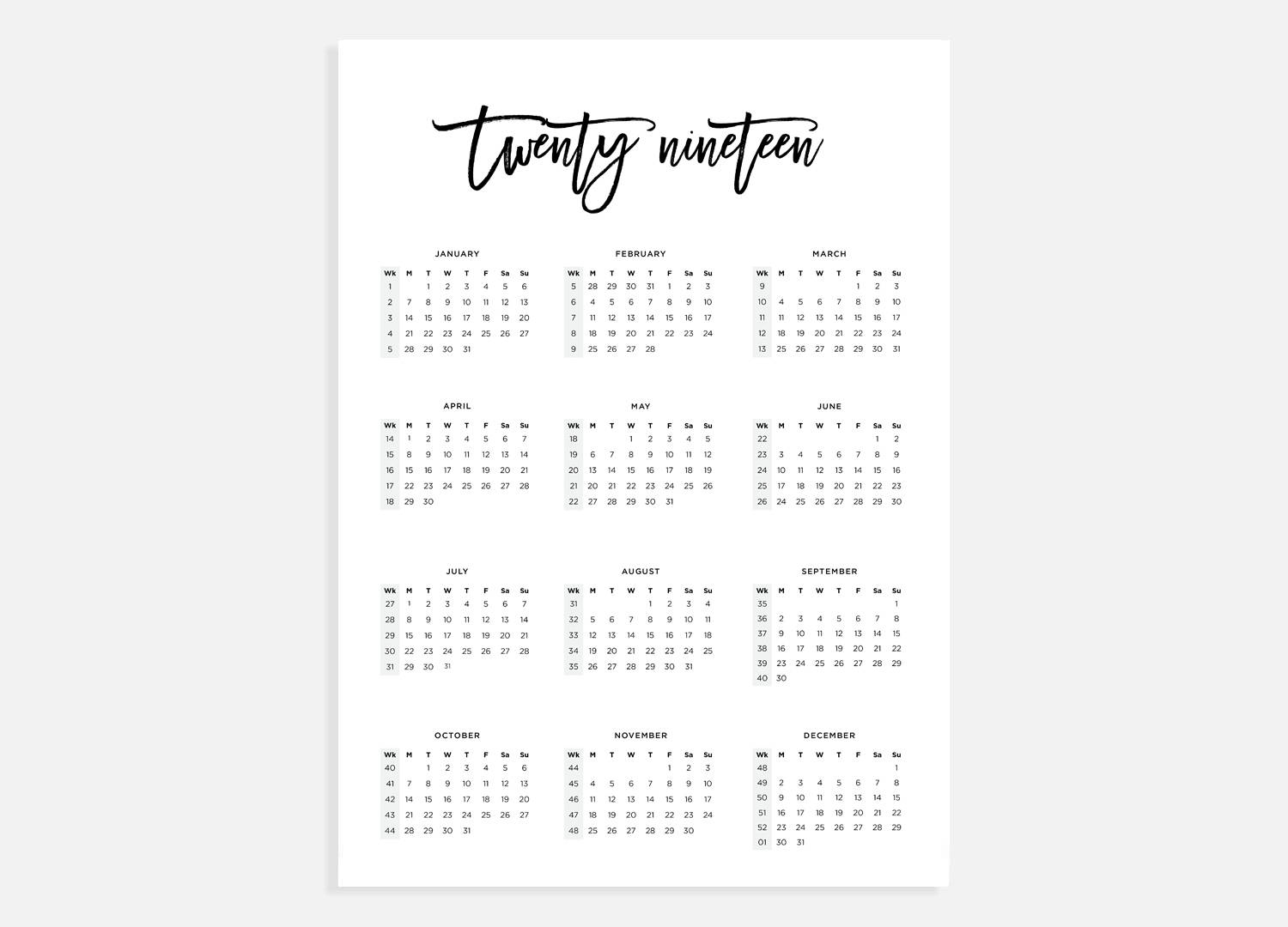 2019 Calendar A3 Calendar With Week Numbers 2019 Year | Etsy throughout Week Of The Year Number Calendar