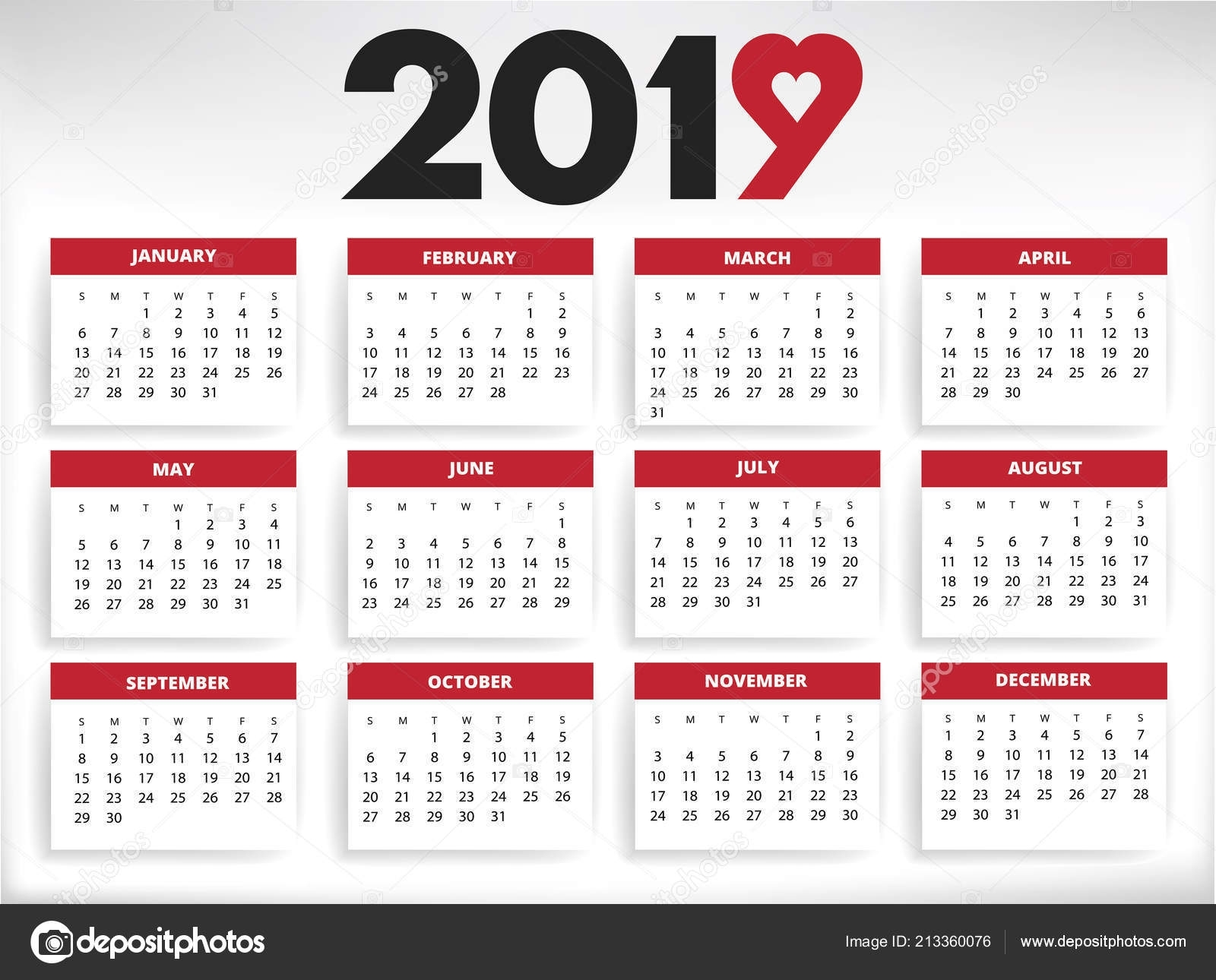 2019 Calendar All Year Months Days Heart Shape Number Nine — Stock inside Calendar With The Months Number