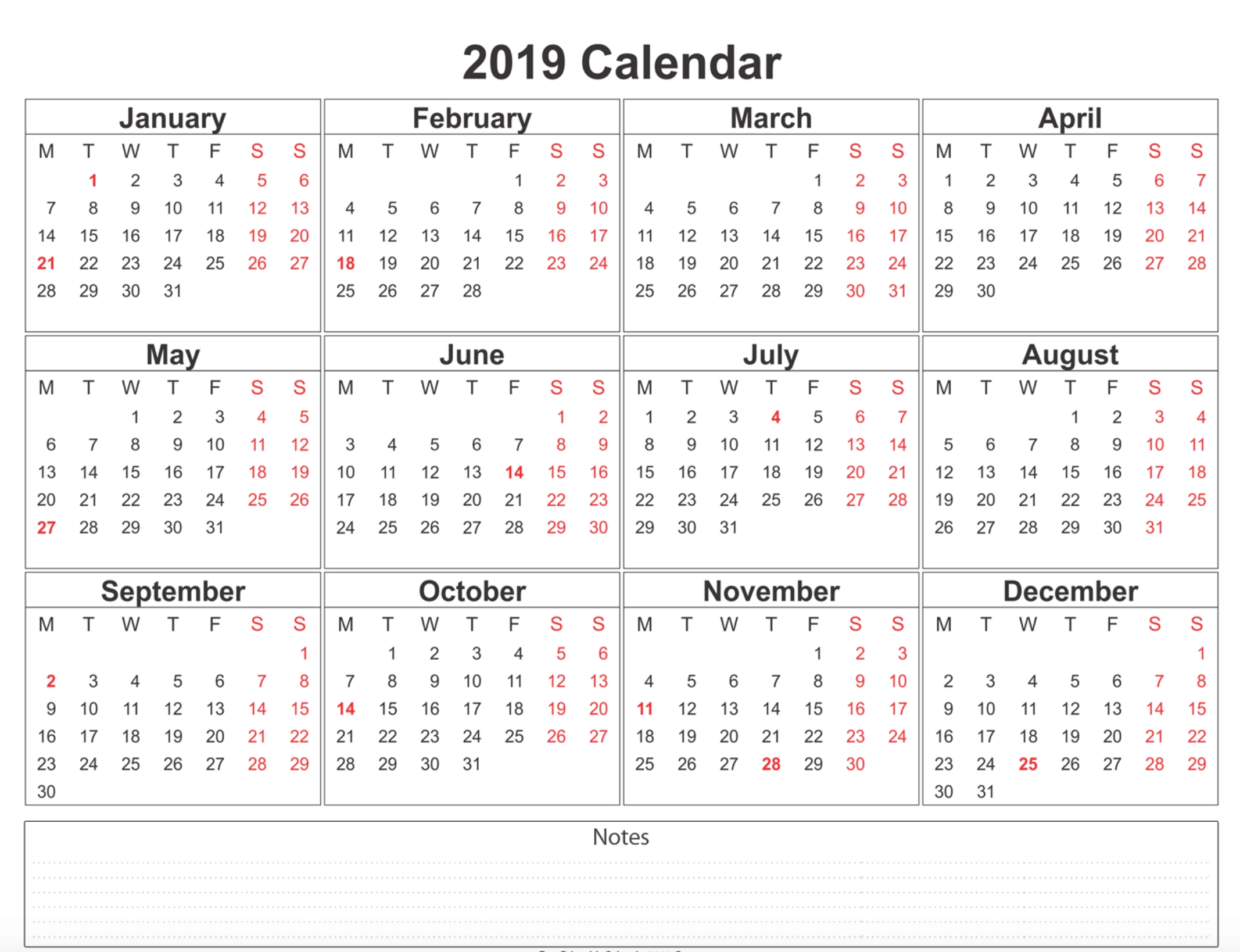 2019 Calendar - Amazonaws intended for Blank Calendar Page Year Long