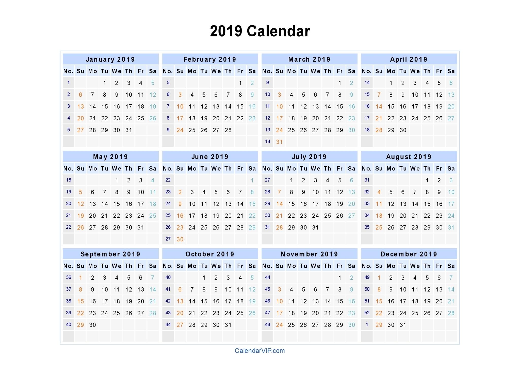 2019 Calendar - Blank Printable Calendar Template In Pdf Word Excel in Number Of The Week Template