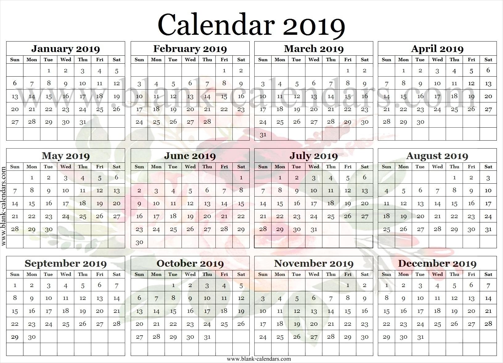 2019 Calendar Desktop Wallpaper Printable Template | 2019 Calendar throughout Blank Screensaver Template To Print