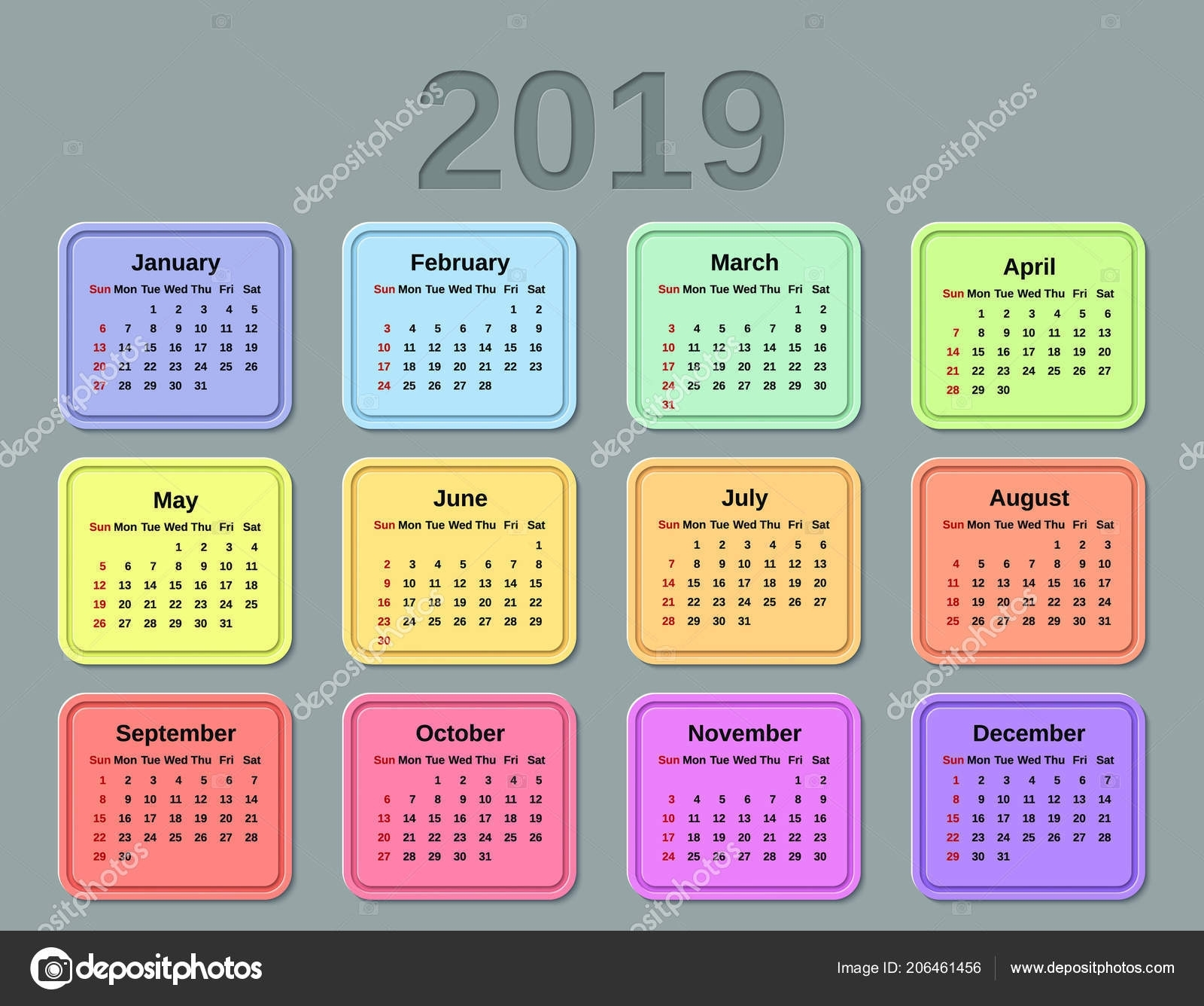 2019 Calendar Months Year Vector Graphics Week Starts Sunday Design in Calendar Months Of The Year